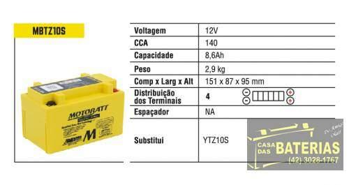 Bateria Moto 8.6ah Mbtz10s Agm-quadflex